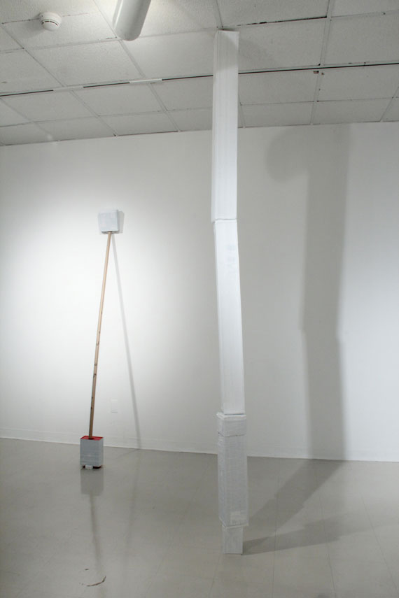 Mixed media, cardboard boxes, white paint, white duct tape, variable dimensions, 2012. From the installation 'Unspecific Shapes'