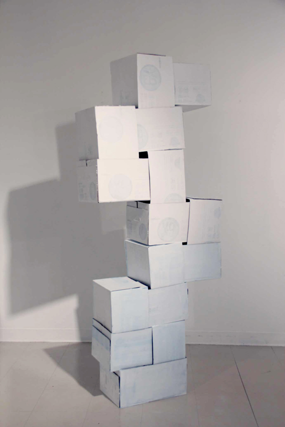 Cardboard boxes, white paint, 2012. From the installation 'Unspecific Shapes'